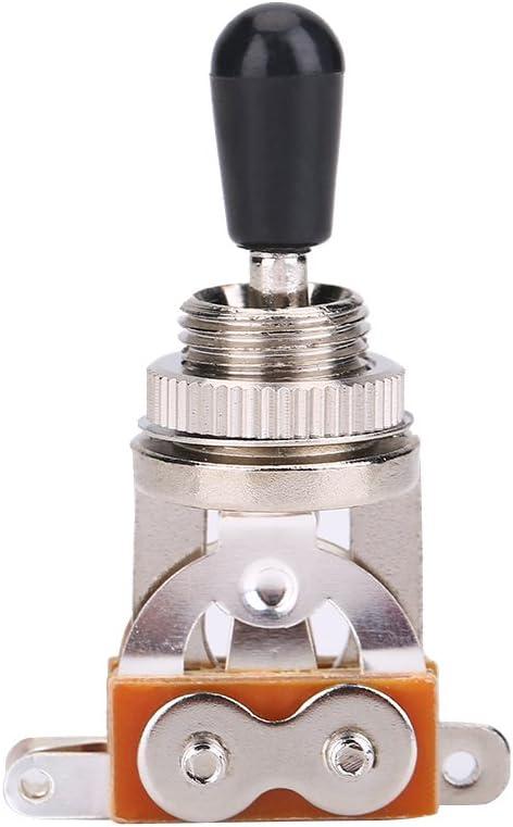 Interruptor de palanca de 3 vías para guitarra, selector de pastillas de metal con perilla de punta de latón para guitarra eléctrica estilo LP., plateado