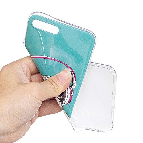 Custodia iPhone 7 Plus / iPhone 8 Plus , LH Cuffia Cucciolo Fluorescenza TPU Silicone Cristallo Morbido Case Cover Custodie per Apple iPhone 7 Plus / iPhone 8 Plus 5.5
