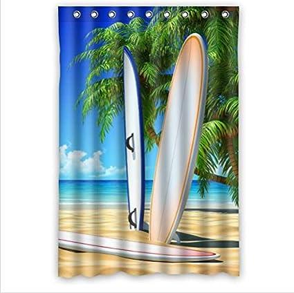Mejor vendedor cortina, diseño fresco Patrón de tablas de surf Custom 100% poliéster resistente
