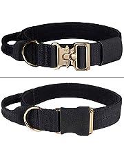 "EXCELLENT ELITE SPANKER Tactical Dog Collar Soft Hook & Loop Padded Dog Collar Adjustable Military Dog Collar with Control Handle 1.5""(BLK)"
