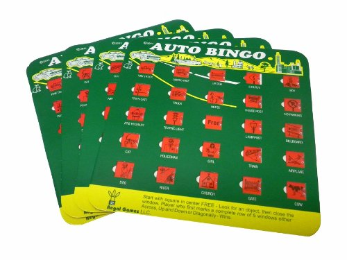 Green Auto Backseat Bingo Pack of 4 Bingo Cards Great For Family Vactions Car Rides and Road (Kids Bingo)