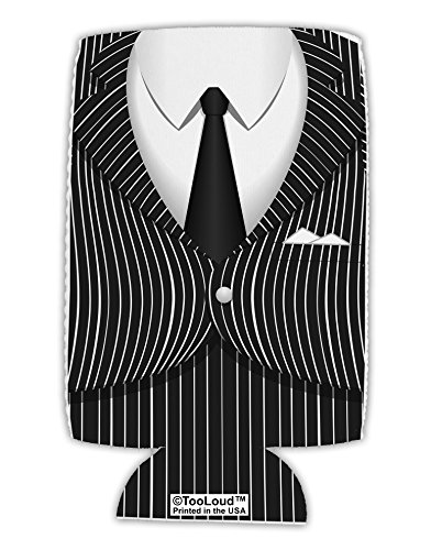 TooLoud Pinstripe Gangster Jacket Printed Costume Collapsible Neoprene Tall Can Insulator All Over Print