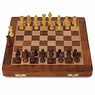 Chess Set - Premium Wooden Chess Board Magnetic Folding Tournament Travel Game Board 10.5 inch Built-in Storage Family Indoor outdoor chess game for Adults Kids Portable Handmade with 2 Extra queens