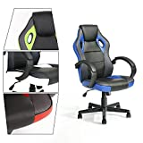 GreenForest Executive Racing Car Style Video Game Chair, Ergonomic Adjustable Swivel Armrest PU Leather Seat High Back For Home Office Desk, Blue Review