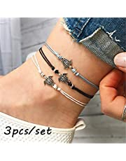 3PCS Women Anklets Chain Turtle Ankle Bracelet Boho Beach Sandal Barefoot Charm Anklet Jewelry Jewelry (NO1)