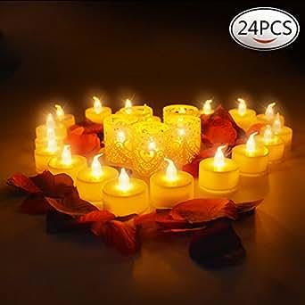 24Pcs Luz de la Vela del LED Luces Led Amarillo Cálido con Forma de Vela Para ...