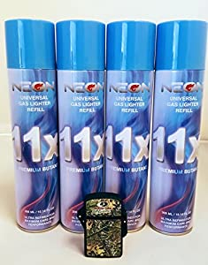 4 Cans of Neon 11x Ultra Refined Butane Fuel FREE torch waterproof lighter by Neon