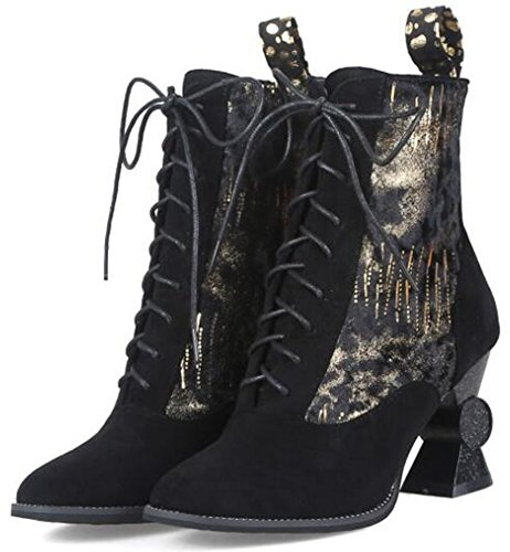 Heels High Special Short Sexy Suede Chunky Lace Faux Ankle Gold Up Boots Womens IDIFU IwXqRZSFS