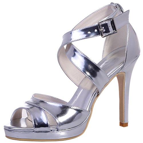 Loslandifen Donna Eleganti Scarpe Da Sposa Open Toe Sandali Con Cinturino Alla Caviglia Tacchi Alti Scarpe Da Sposa Argento-b