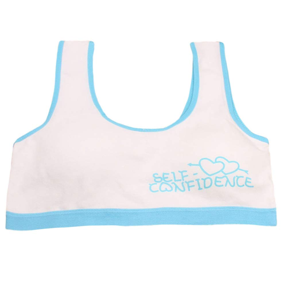 XILALU Big Girls Training Sports Bra,Seamless Letter Print Vest Sport Clothes Thin Cotton Breathable Underwear (10T-15T)