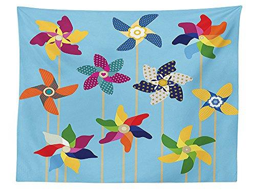 American Cut Pinwheel (vipsung Pinwheel Decorations Tablecloth Pinwheels Collection on Sky Blue Playful Summer Days Holidays Breeze Garden Park Dining Room Kitchen Rectangular Table Cover)