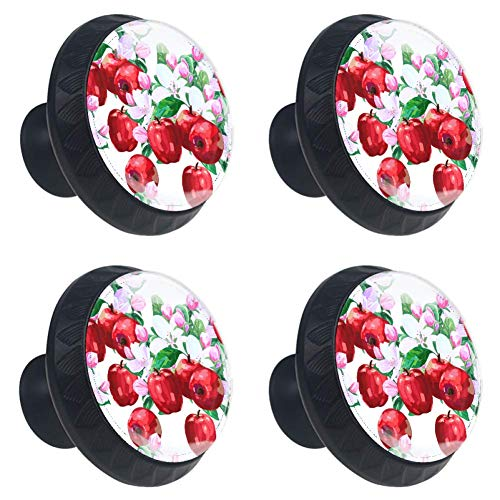 (LORVIES Red Apple and Flowers Drawer Knob Pull Handle Crystal Glass Circle Shape Cabinet Drawer Pulls Cupboard Knobs with Screws for Home Office Cabinet Cupboard (4 Pieces))