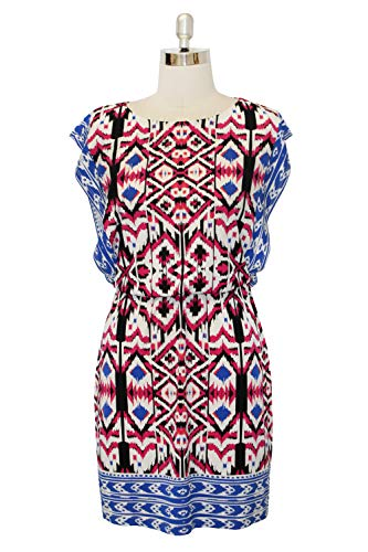 London Times Women's Petite Short Sleeve Round Neck Jersey Blouson Dress, red/Blue, 4P