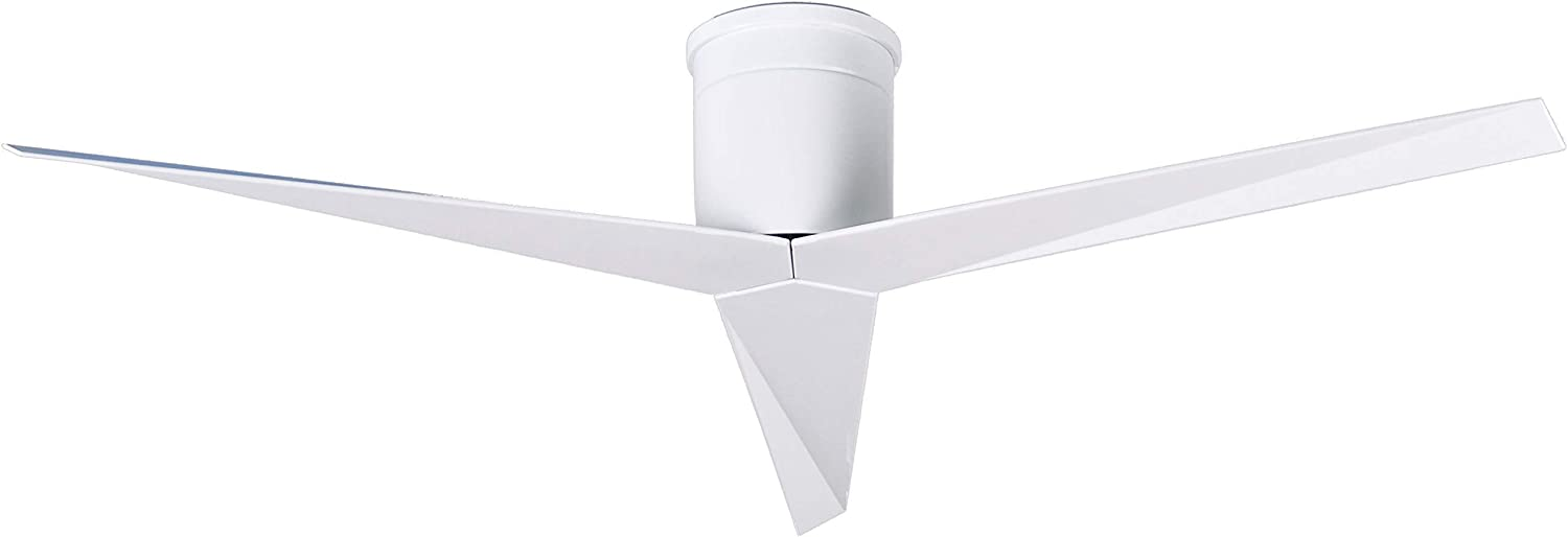 Matthews EKH-WH-WH Eliza 56 Outdoor Hugger Ceiling Fan with Remote Control Wall Control, 3 Blades, Gloss White