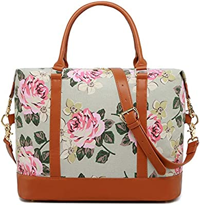 41ac8d08d46 Amazon.com   Women Ladies Canvas Weekender Bag Overnight Carry-on Tote  Duffel in Trolley Handle (Flower-grey)   Carry-Ons