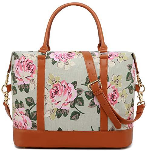 Weekender Bag Overnight Carry-on Tote Duffel in Trolley Handle (Flower-grey) ()
