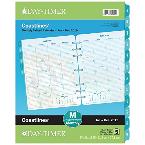 Day-Timer 2019 Planner Refill, 8-1/2 x 11, Folio Size 5, Two Pages Per Month, Loose Leaf, Coastlines (13393)
