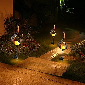Luz de calle del paisaje Lámpara de llama solar LED Lámpara de sol y luna Lámpara