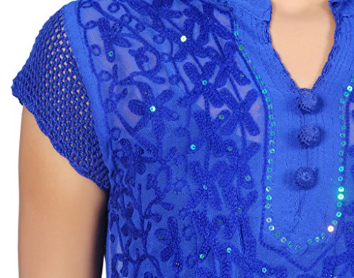 Mujer Damas Niñas Túnica/Superior gorgette conjunto bordado medias de ganchillo funda Kurti India Pakistán Azul