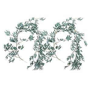 VORCOOL 2PCS Artificial Greenery Garland Faux Willow Vines Wreath Wedding Backdrop Wall Decor Flower Arrangement 1.7M 72