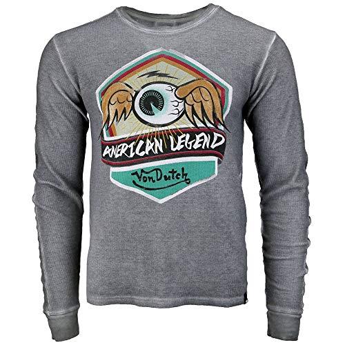 Dutch Long Sleeve - Von Dutch Mens Long Sleeve Thermal Tee Casual T-Shirt Grey L