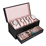 Pasutewel Watch Case for Men & Women,Luxury PU Leather 4 Slots Watch Jewelry Storage Organizer Display Box With 1 Jewelry Tray - Exquisite and Durable