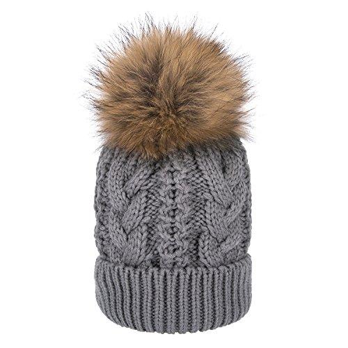 Fur Lined Fleece (Womens Girls Winter Fleece Lined Cable Hat Knit Hat Fur Hat Real Large Raccoon Fur Pom Pom Beanie Hats Caps (Grey))