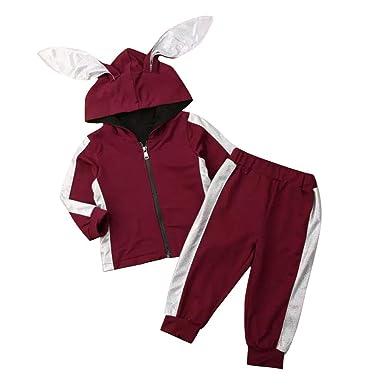 Loveablely Conjunto de chándal con capucha para bebés con dos ...