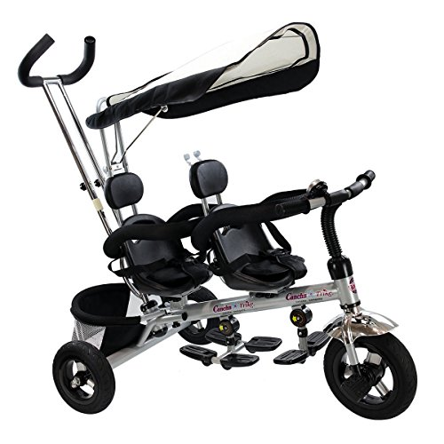 Costzon 4 In 1 Dual Twins Kids Trike Baby Toddler Tricycle Safety Double Rotatable Seat w/Basket, Black (Seat Tricycle Double)