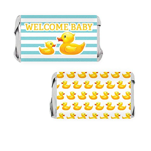 Rubber Ducky Baby Shower Favors - Miniatures Candy Bar Wrapper Stickers (Set of 54) (Miniature Candy Shower Baby Wrappers)