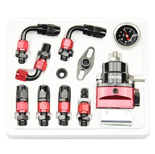 OSIAS Universal Adjustable Fuel Pressure Regulator Kit +100 Psi Pressure Gage AN6 Fitting Connectors Kit Black & Red