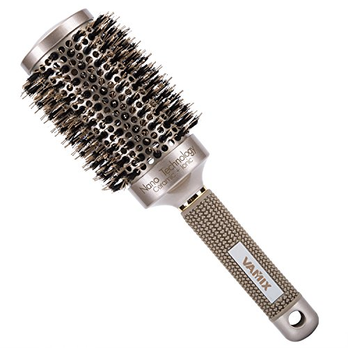 Round Ceramic (VAMIX Nano Thermal Ceramic & Ionic Round Barrel Anti-Static Hair Brush with Boar Bristle, for Hair Drying, Styling, Curling, Adding Hair Volume and Shine,Gold Color(2 inch))