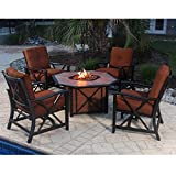Oakland Living 5 Piece Haywood Deep Seating Chat Set, Antique Bronze For Sale