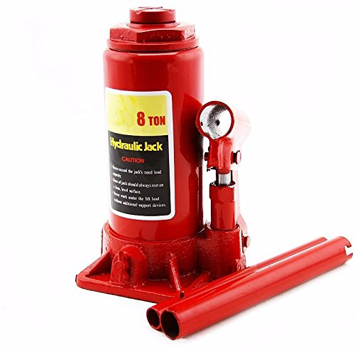 GHP 15'' Maximum Lift Height Steel 8-Ton Capacity Hydraulic Bottle Jack with 2 Handles