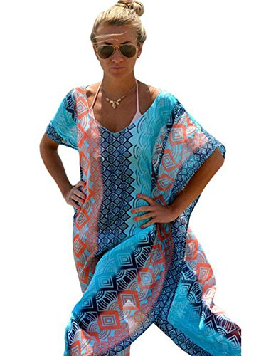 Walant Womens Chiffon Robe Beach Dress Swimsuit Bathing Suits Bikini Cover-ups,Blue,One Size