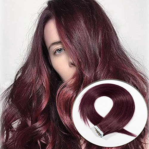 18 inch Wine Red Tape in Hair Extensions Human Hair 100% Straight Highlight Remy Hair Skin Weft Seamless 20pcs/50g+10pcs Double Sided Tapes #99J
