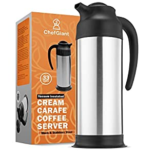 Coffee Carafe 33 oz, Coffee Thermos, Coffee Server Vacuum Insulated Stainless Steel Carafe, Hot Beverage Dispenser, Water Carafe, Black & Silver Thermal Coffee Carafe, Double Wall-Commercial Grade