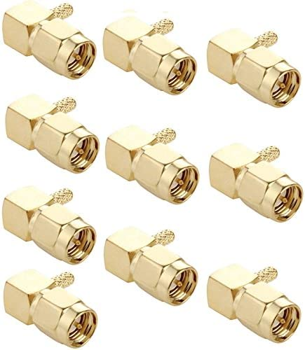 RG316 //RG179 Cable 10 PCS Gold Plated Crimp SMA Male Plug 90 Degree Right Angle RF Connector Adapter for RG174
