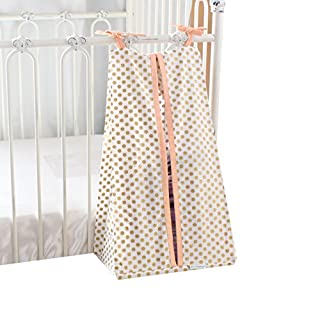 Metallic Gold Dots Diaper Stacker (Coral)
