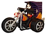 7 Foot Long Halloween Inflatable Grim Reaper on Motorcycle 2013 Yard Decoration