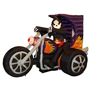 BZB Goods 7 Foot Long Halloween Inflatable Grim Reaper on Motorcycle Lights Decor Outdoor Indoor Holiday Decorations…