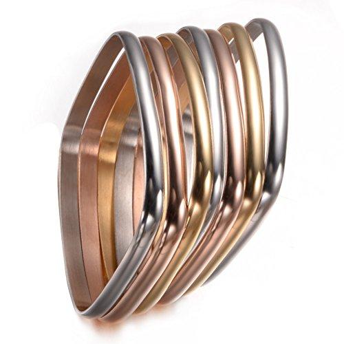 Unistyle Jewelry Multi-strand Mix Colors Titanium Stainless Steel Bangle Bracelets (set of 7 square shape)