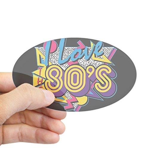 CafePress I Love The 80S Oval Bumper Sticker, Euro Oval Car Decal ()