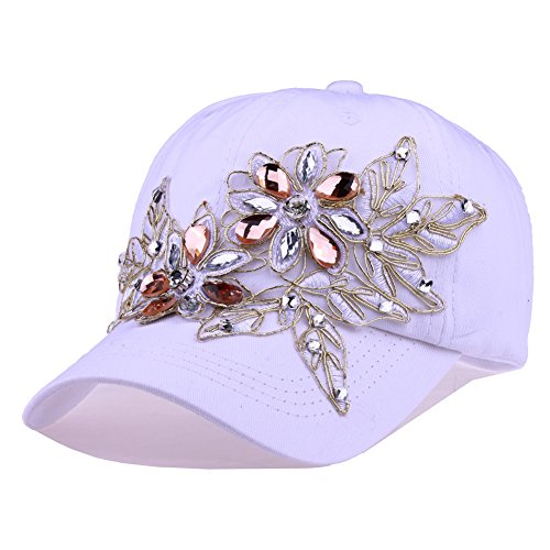 Womens Baseball Hat Flower Rhinestone Military Hat for Women Cotton Bling Baseball Cap Lace Girls Hat(White)]()