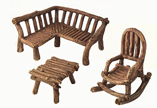 Cheap  Miniature Fairy Garden Furniture 3-Piece: Rustic Wood Bench, Rocking Chair and Miniature..