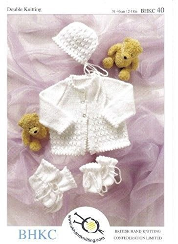 Knitting Pattern for Baby Cardigan, Bootees, Mittens and Hat, Pattern Number: UKHKA40 by UK Hand Knitting Association by UK Hand Knitting Association