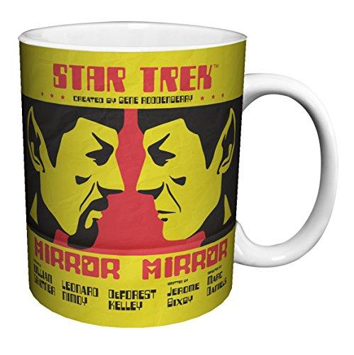 Star Trek Mirror Mirror Mr. Spock (Juan Ortiz Art) Sci-Fi TV Television Show Porcelain Boxed Gift Coffee (Tea, Cocoa) 11 Oz. Mug