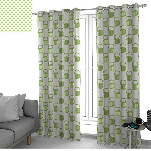 LewisColeridge Blackout Lined Curtains Green,Holiday Theme with Foamy Beer Glasses Celebration Fun Doodle Pattern Design,Apple Green White,Thermal Insulated,Grommet Curtain Panel Set of 2 100