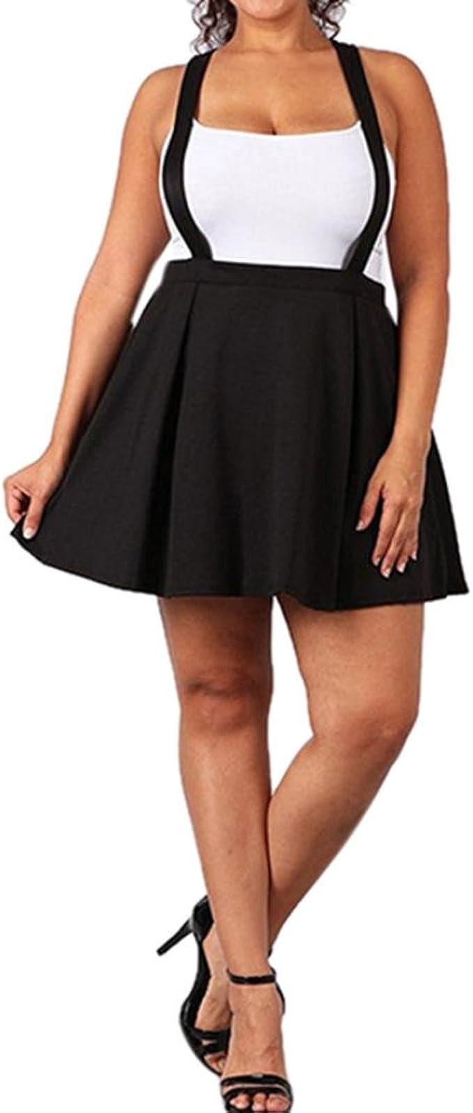Damen Kleider, GJKK Damen Schwarz Übergröße Lose Strap Pure Farbe Short  Mini Rock Minikleid Kurz Ballkleid Skaterkleid Partykleider