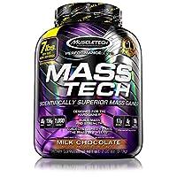 MuscleTech Mass Tech Gainer en polvo para proteínas, aumenta el tamaño y la fuerza de los músculos con calorías limpias de alta densidad, chocolate con leche, 7 libras (3,2 kg)